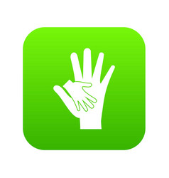 baby and mother hand icon digital green vector image