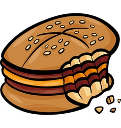 Bitten cheeseburger cartoon clip art vector