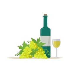 Bottle of Wine and Wineglass vector