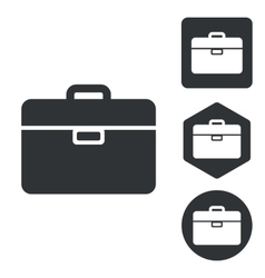 Briefcase icon set monochrome vector