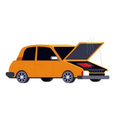 Broken car with open hood road accident or crash vector