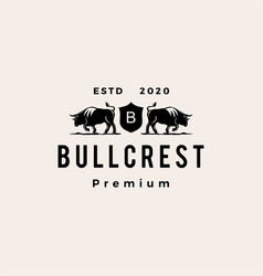bull coat arms hipster vintage logo icon vector image