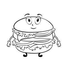 burger cartoon coloring book vector image