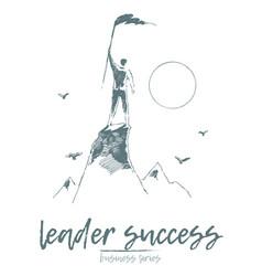 business leadership man top mountain flag vector image
