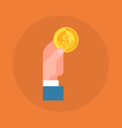 business man hand holding coin icon savings and vector image