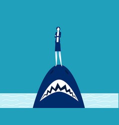 businesswoman standing on shark mouth stand vector image