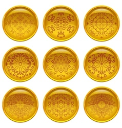 Buttons with patterns set vector image
