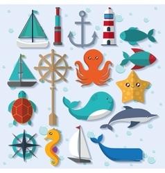 cartoon icon set Sea animal and lifestyle design vector image