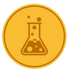 Chemistry flask gold coin vector