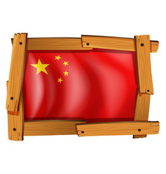 China flag in square frame vector