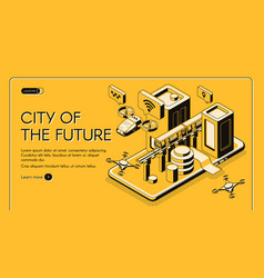 City future isometric web banner vector