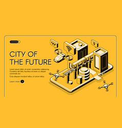 city future isometric web banner vector image
