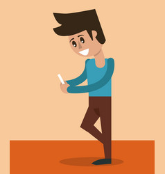 Color background of man standing with smartphone vector