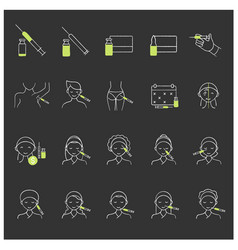 Cosmetic injection chalk icons set vector
