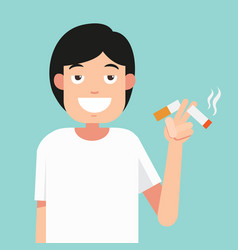cut a cigarettesconcept for anti smoking vector image