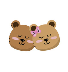 cute animal couple bear head together vector image