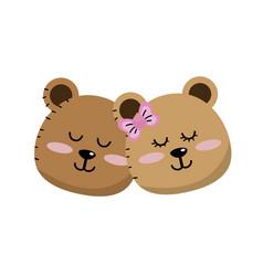 Cute animal couple bear head together vector