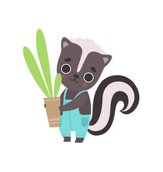 Cute little skunk wearing overall holding flower vector