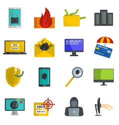 Cyber attack computer virus icons set vector