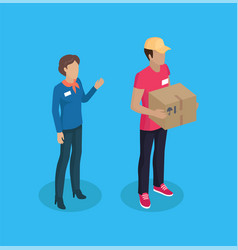 Delivery man and manager woman vector