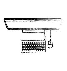 desktop computer on top view in black blurred vector image