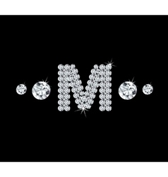 Diamond alphabetic letter M vector