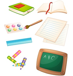 Different things used in the school vector
