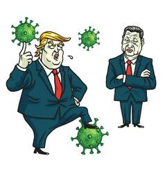 Donald trump xi jinping fighting coronavirus vector