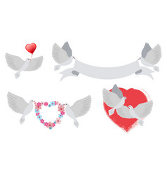 Doves and hearts with banners vector