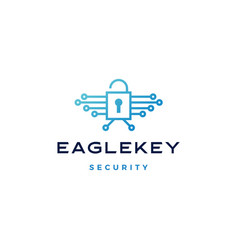 eagle bird key padlock tech logo icon vector image