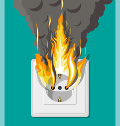 electrical outlet on fire overload network vector image