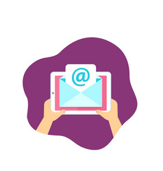 Email service mail message on tablet screen vector