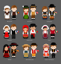 europeans in national dress vector image