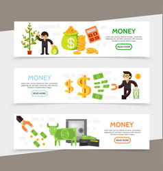 flat finance horizontal banners vector image