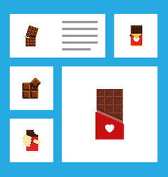 Flat icon chocolate set of shaped box cocoa vector