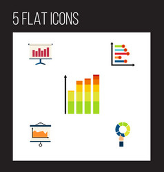 flat icon graph set of pie bar infographic vector image
