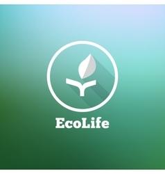 flat minimalistic eco logo on blurred vector image