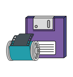 Floppy with roll camera nineties retro style vector