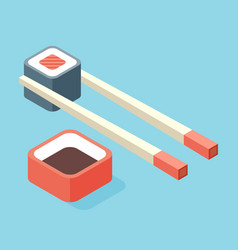 food - sushi roll with nori modern 3d flat design vector image