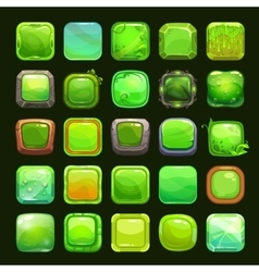 Funny cartoon green square buttons vector