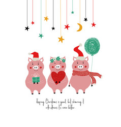 funny christmas card with cute pigs vector image