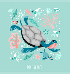 funny turtles surrounded marine plants corals vector image