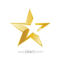 Gold Abstract star on white background vector image