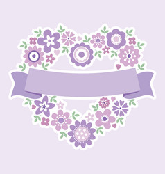 greeting card floral heart purple vector image