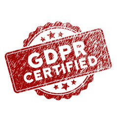 grunge textured gdpr certified stamp seal vector image