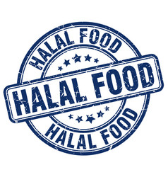Halal food blue grunge round vintage rubber stamp vector