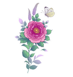 Hand drawn pink flower and butterfly vector