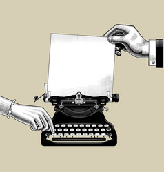 hands of man and woman with old typewriter vector image