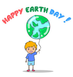 Happy earth day with world and child vector