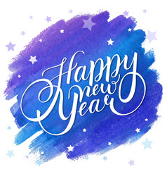 happy new year design with lettering on a blue vector image